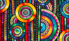 Special Award - BEST USE OF COLOUR.  Open Large Quilt - FIRST PRIZE.  Good Vibrations by Ansa Breytenbach.